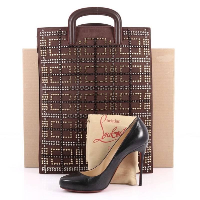 Christian Louboutin Trictrac Portfolio Bag Printed Spiked Leather Large py946S
