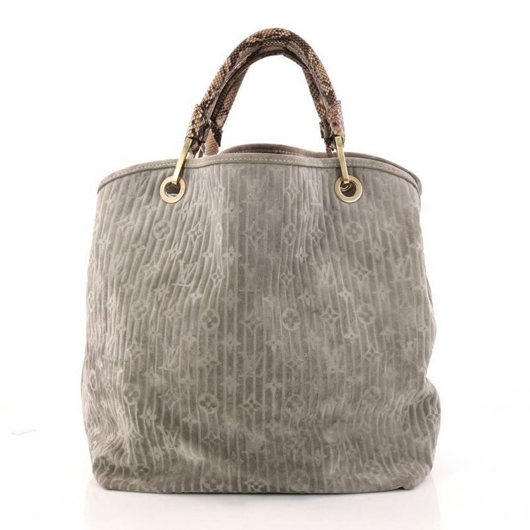 624d61d13fba Louis Vuitton Limited Edition Whisper Bag Monogram Suede and Python GM In  Good Condition For Sale