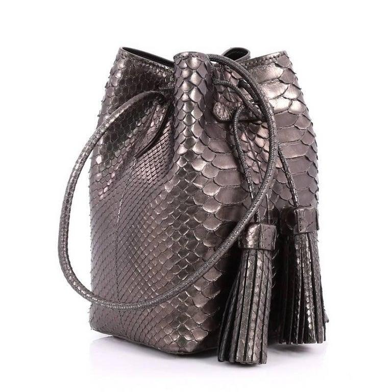 Gray Tom Ford Tassel Python Small Bucket Bag For Sale f82fccd6c0cf