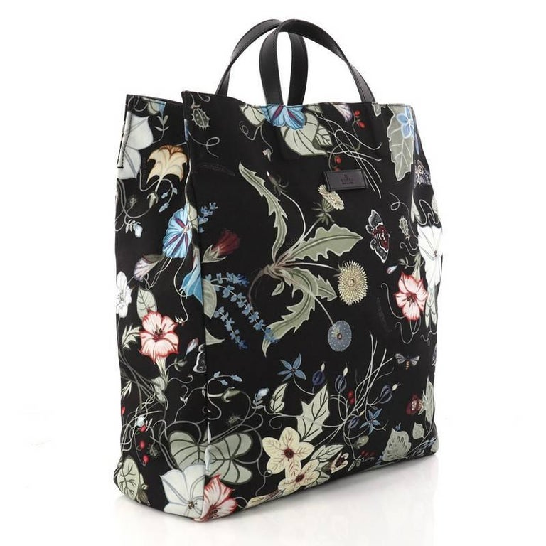 a6900dbb3 Black Gucci G-Active Knight Tote Flora Canvas Tall For Sale