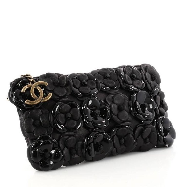 d5466146b97dff Black Chanel Camellia Chain Pochette Embellished Lambskin and Patent Small  For Sale