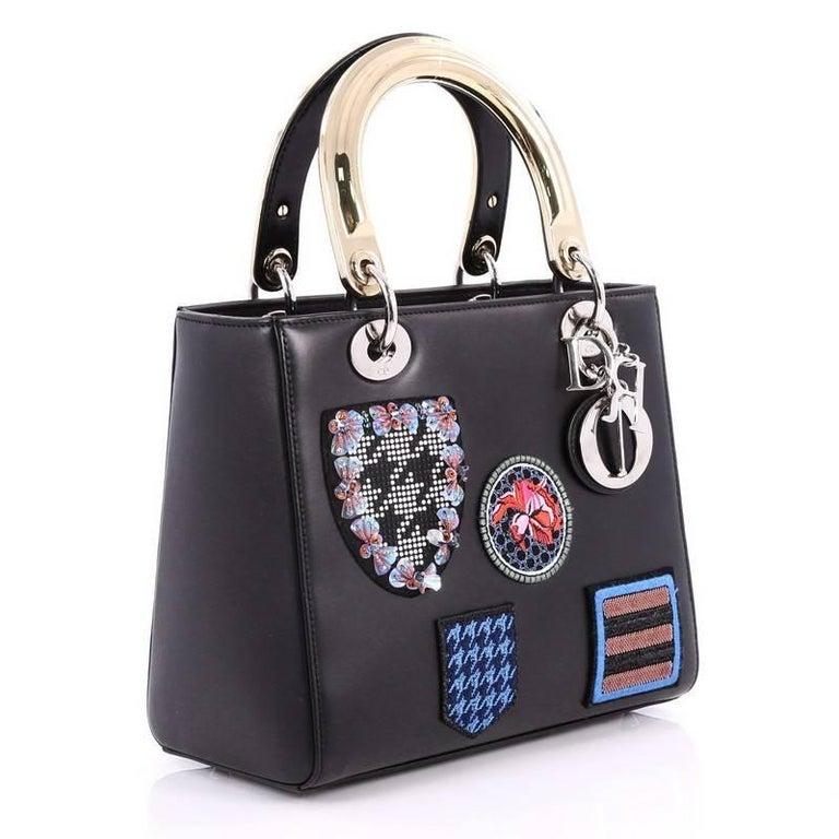 da9abb666524 Black Christian Dior Lady Dior Handbag Patch Embellished Leather Medium For  Sale