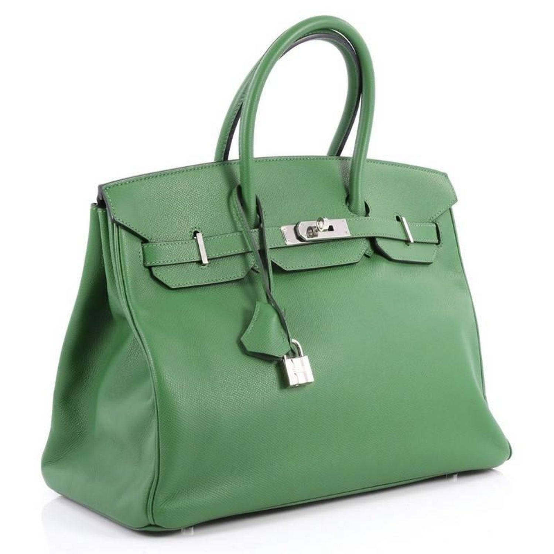 8dc636f284 Hermes Birkin Handbag Vert Bengale Green Epsom with Palladium Hardware 35  at 1stdibs