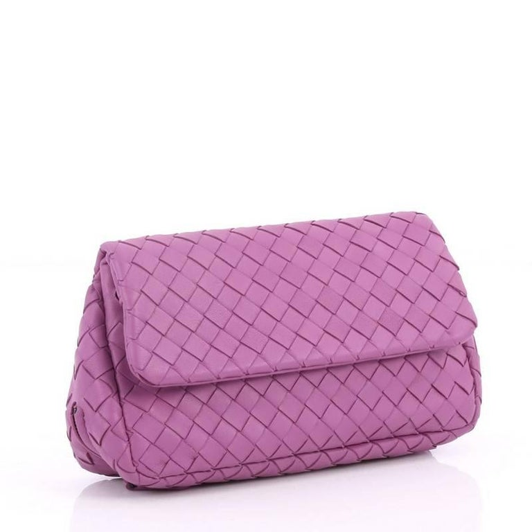 Purple Bottega Veneta Expandable Chain Crossbody Bag Intrecciato Nappa Small For Sale