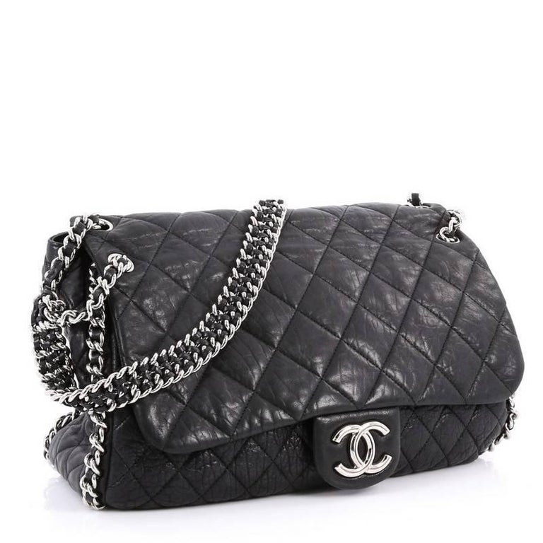 d44f9e83b70e05 Black Chanel Chain Around Flap Bag Quilted Leather Maxi For Sale