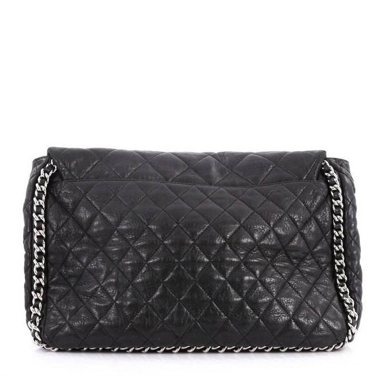 Chanel Chain Around Flap Bag Quilted Leather Maxi In Good Condition For New York