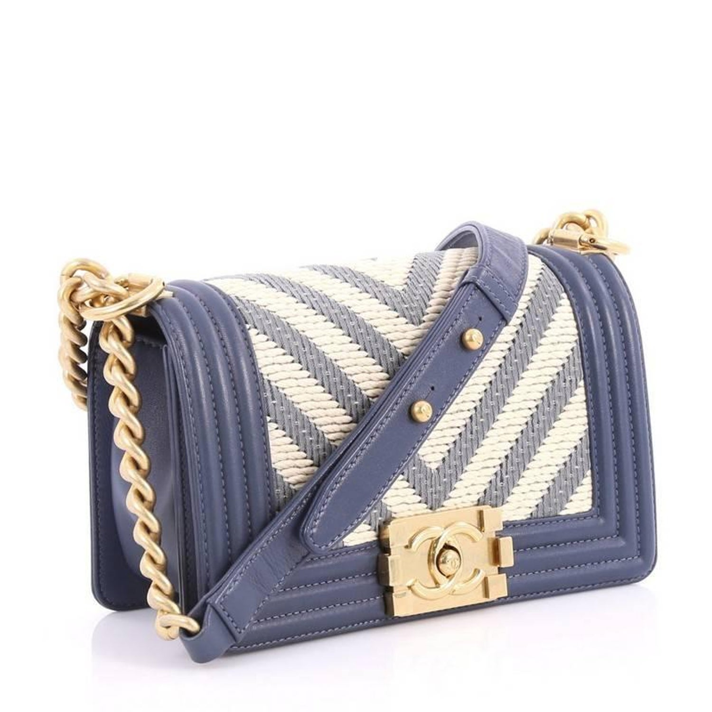 12dc014a13c6 Chanel Boy Flap Bag Braided Chevron Calfskin Small at 1stdibs