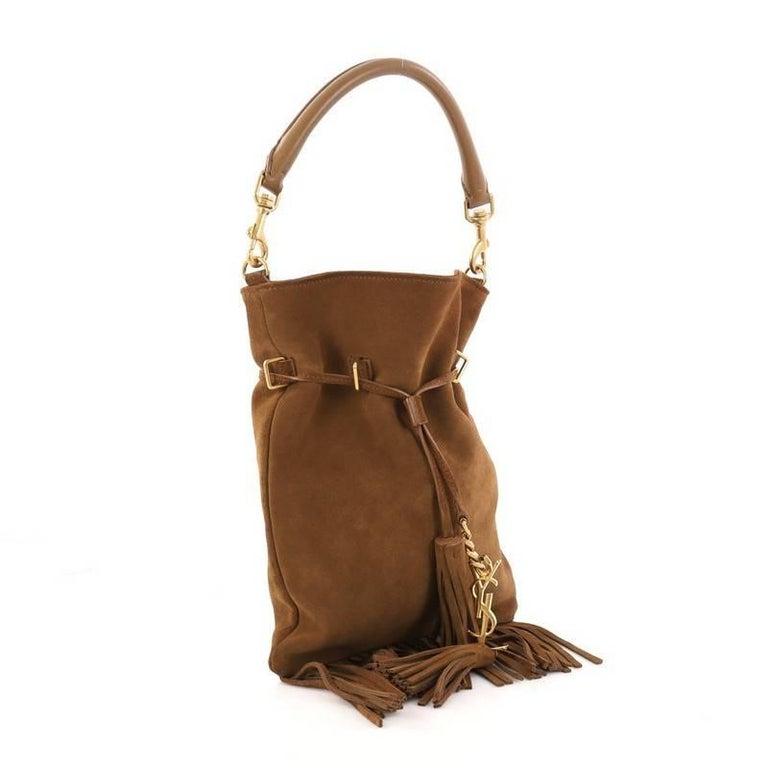 200bff6b9fad ... Brown Saint Laurent Monogram Flat Bucket Bag Suede Fringe Small For  Sale size 40 802b1 b926a ...