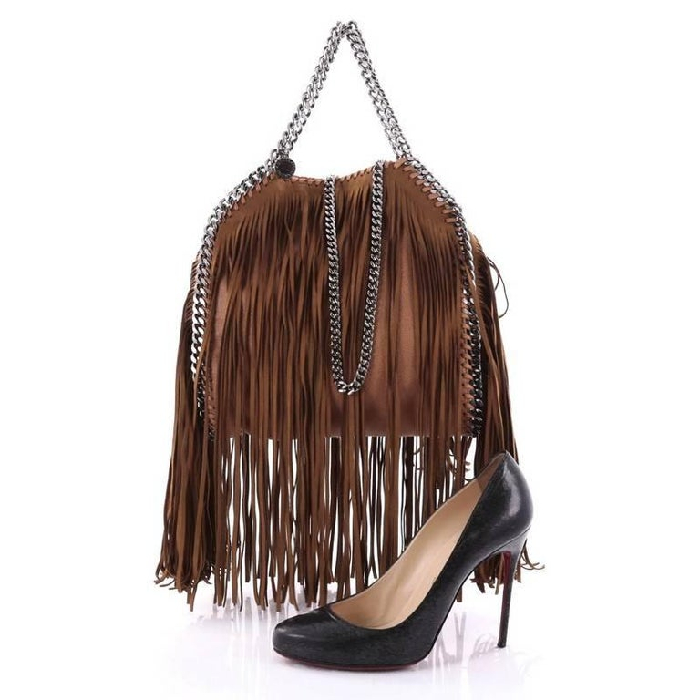 This Authentic Stella Mccartney Falabella Fringe Fold Over Crossbody Bag Gy Deer Mini Is Perfect For
