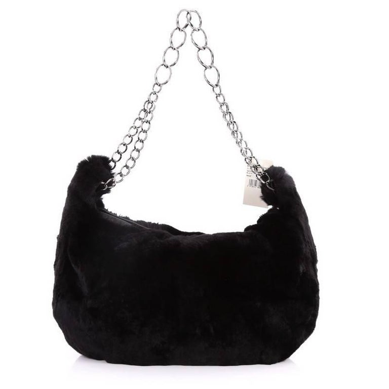 1d48cd41eab5 Chanel Chain Link Strap Hobo Fur Large In Good Condition For Sale In New  York,