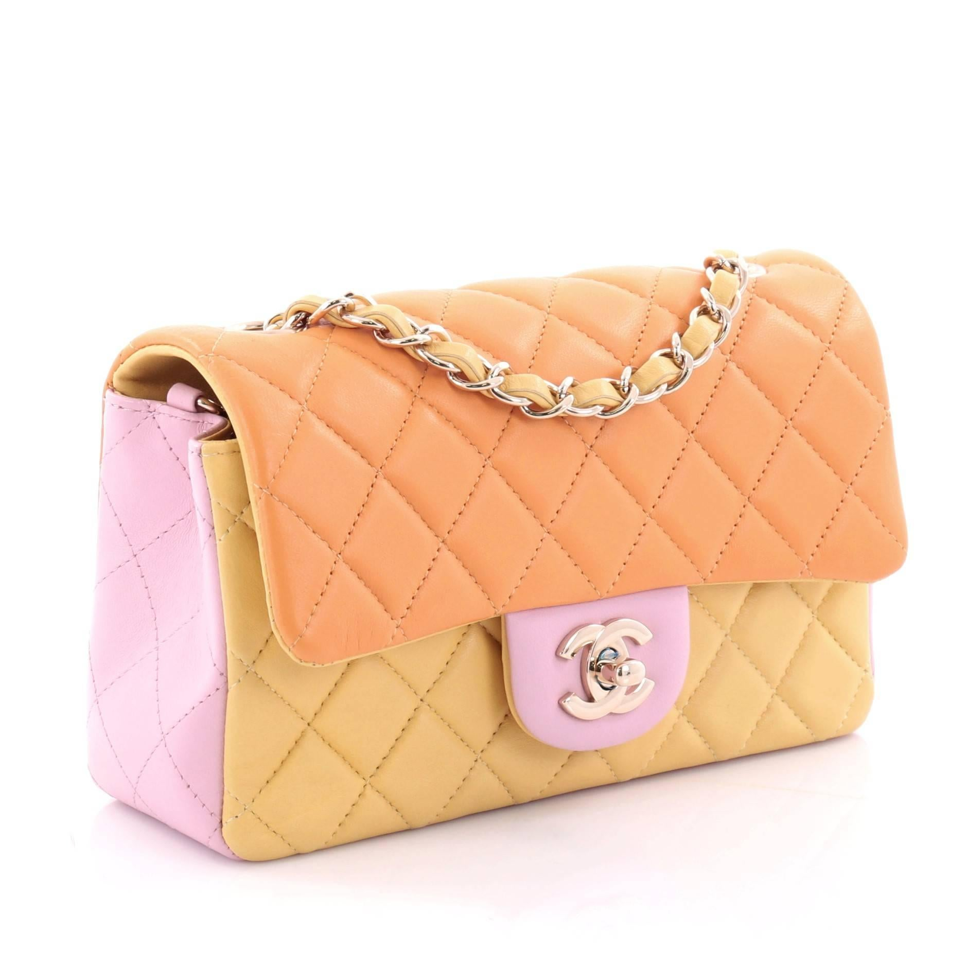 7062bedb2731 Chanel Tricolor Classic Single Flap Bag Quilted Lambskin Mini at 1stdibs