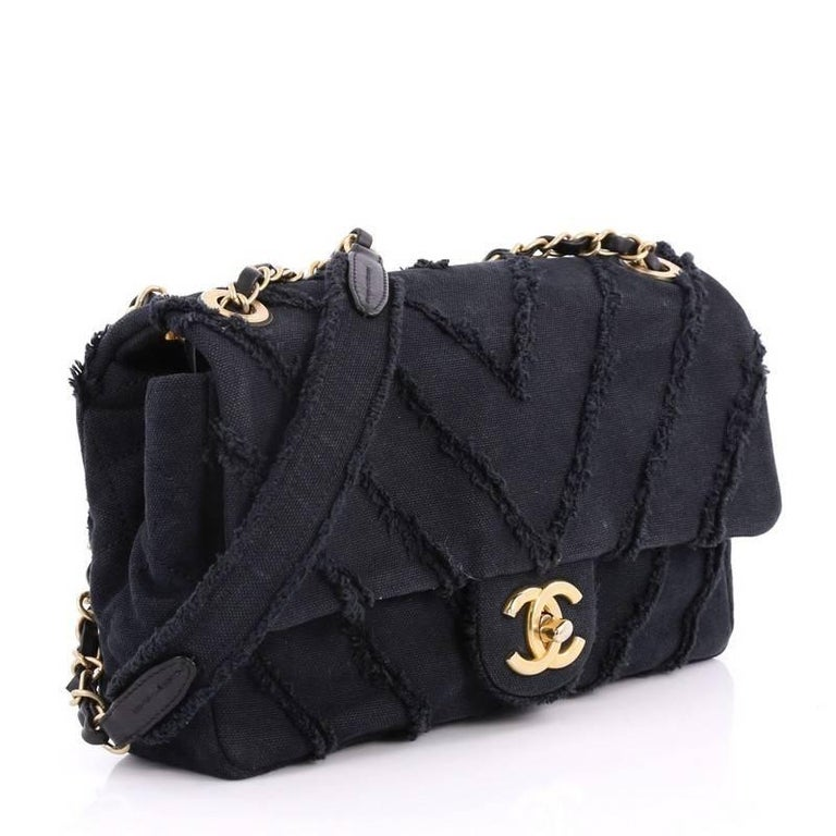 b7cc9bb6d5da Black Chanel CC Flap Bag Chevron Canvas Patchwork Medium For Sale