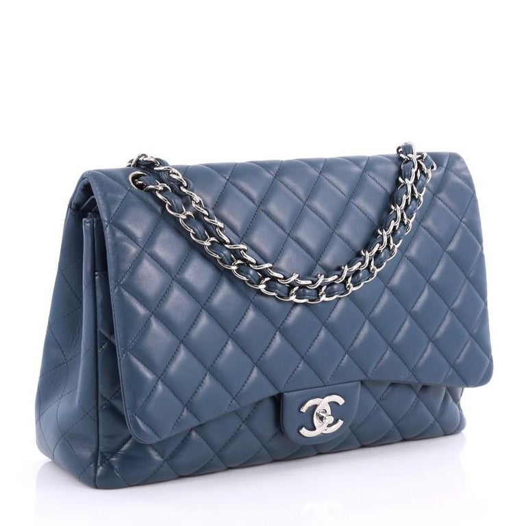 Purple Chanel Classic Double Flap Bag Quilted Lambskin Maxi For Sale