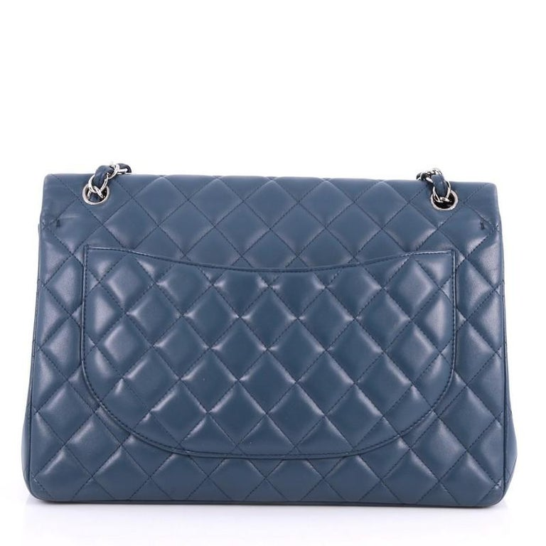 Chanel Classic Double Flap Bag Quilted Lambskin Maxi In Good Condition For Sale In New York, NY