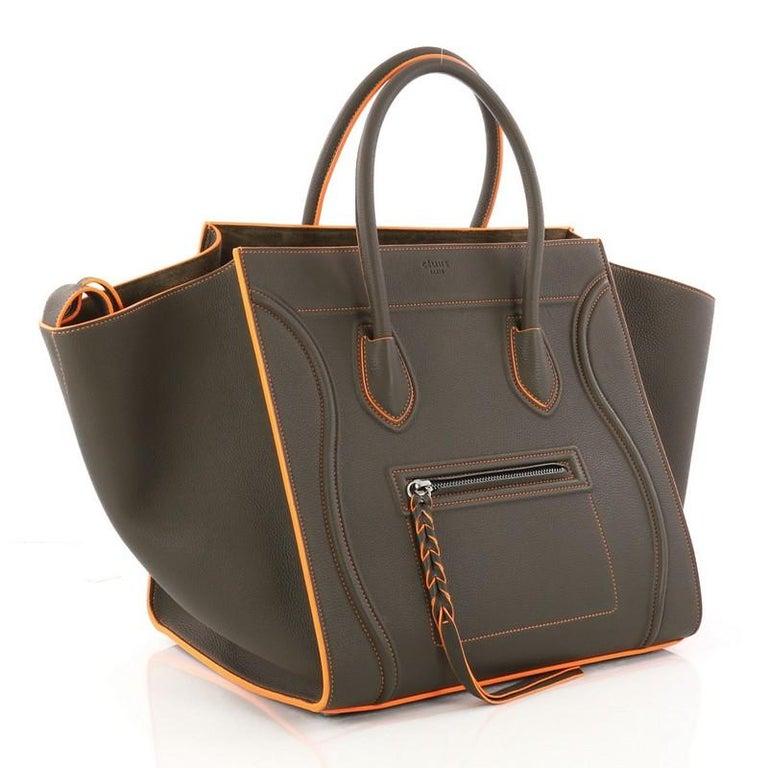 Black Celine Phantom Handbag Grainy Leather Medium For Sale 085390274e458