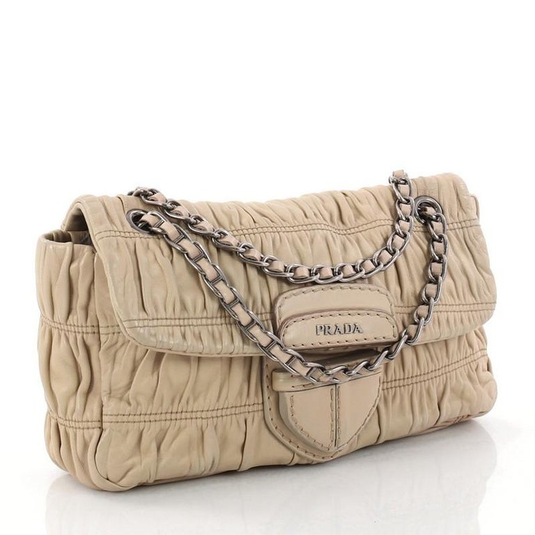 Prada Gaufre Chain Flap Shoulder Bag Nappa Leather Small For Sale at ... b5522bb3fc