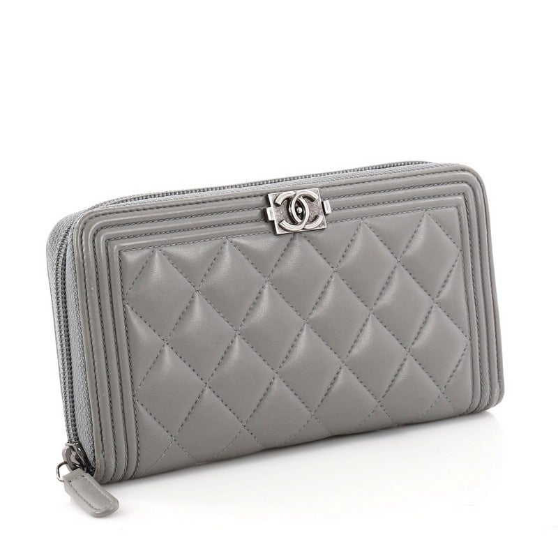 39173820a97c04 Chanel Boy L-Gusset Zip Wallet Quilted Lambskin Long at 1stdibs