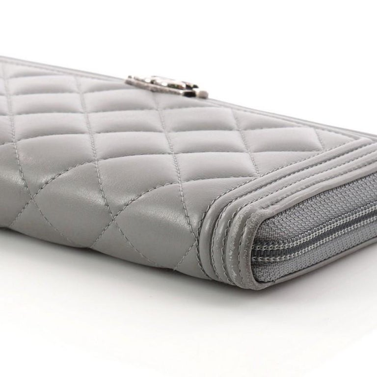 fb4e327532ae Chanel Boy L-Gusset Zip Wallet Quilted Lambskin Long For Sale 1