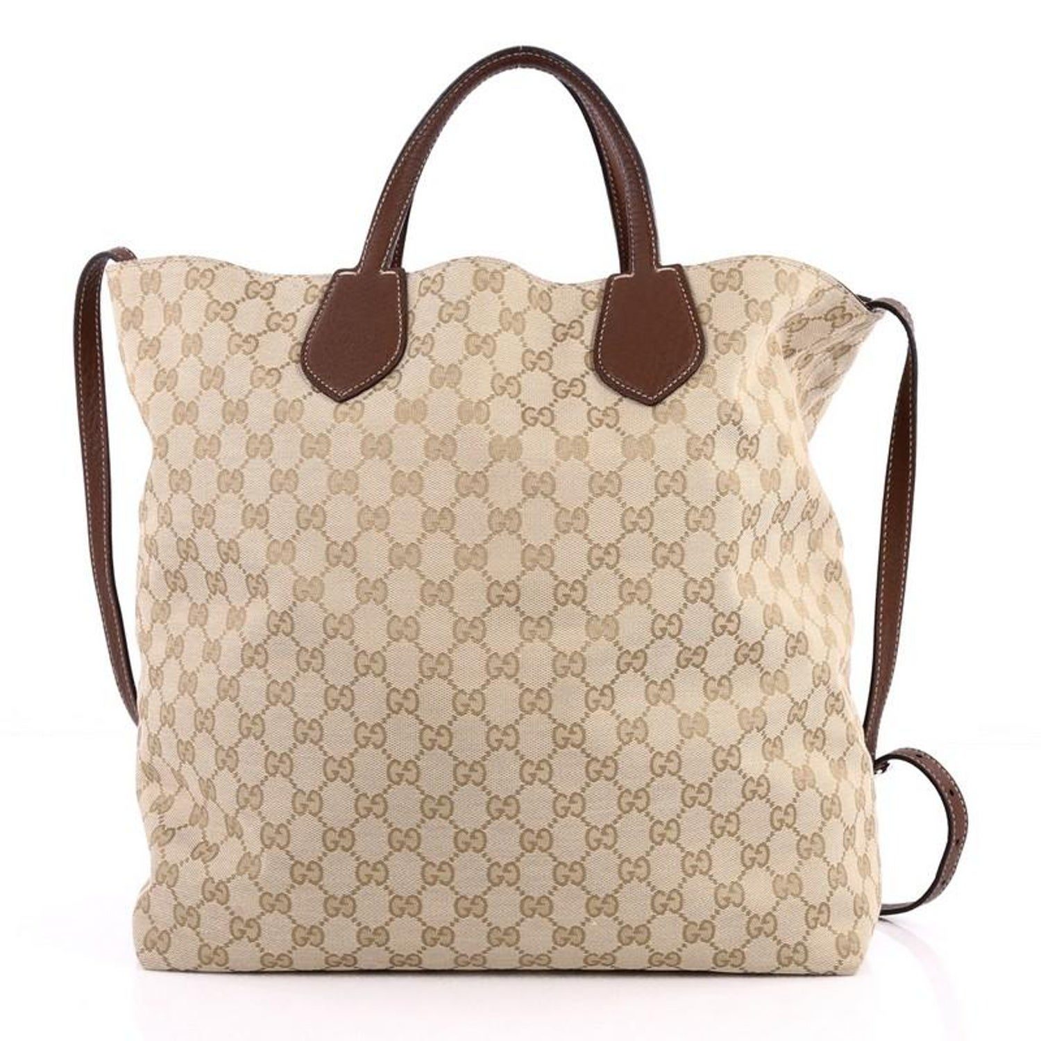 d80e4b2575e Gucci Ramble Reversible Tote GG Canvas and Leather Large at 1stdibs