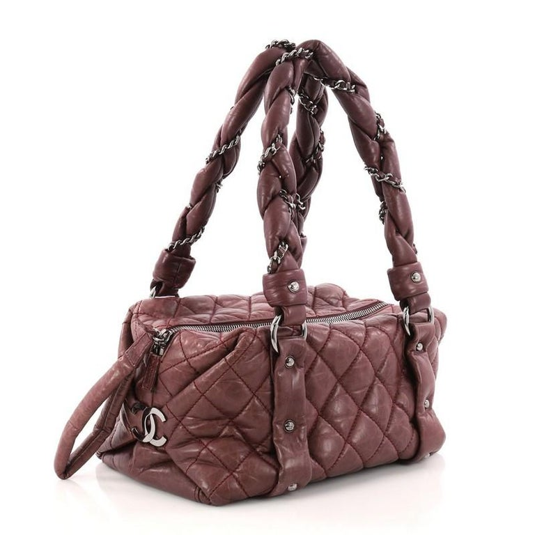 7707aebc797c Brown Chanel Lady Braid Bowler Bag Quilted Distressed Lambskin Small For  Sale