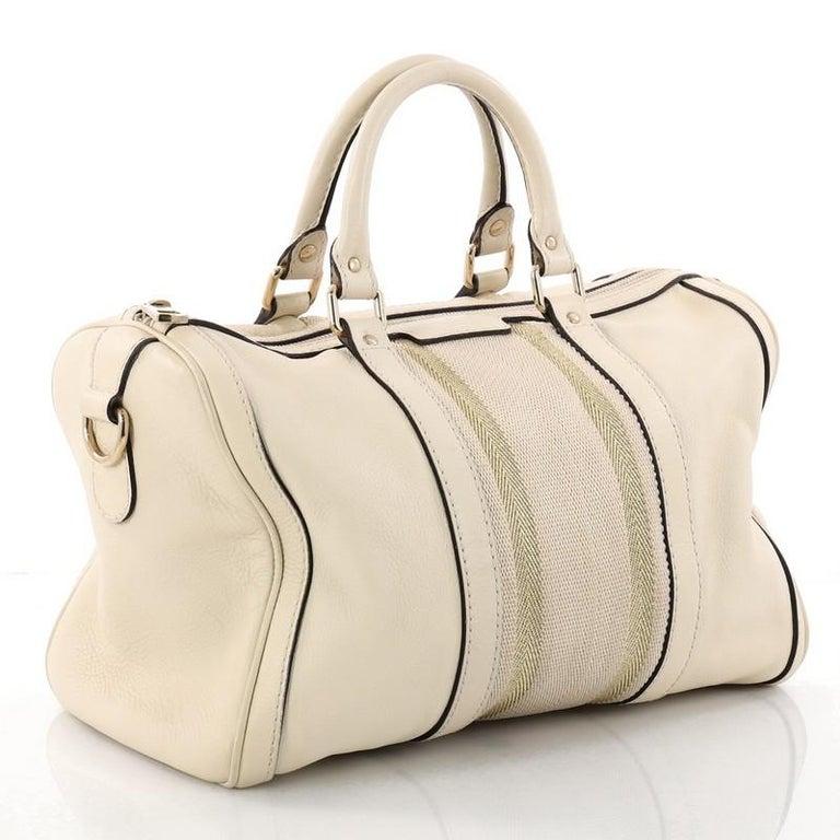 3584c1568e6 Beige Gucci Vintage Web Boston Bag Leather Medium For Sale
