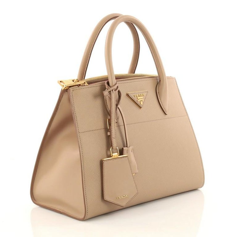 e2c4af50de82de Brown Prada Esplanade Handbag Greca Saffiano with City Calf Medium For Sale