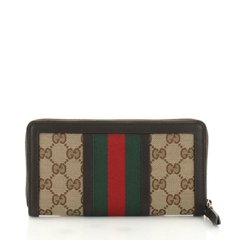 a79b5cc823b6 Gucci Web Zip Around Wallet GG Coated Canvas In Good Condition For Sale In  New York