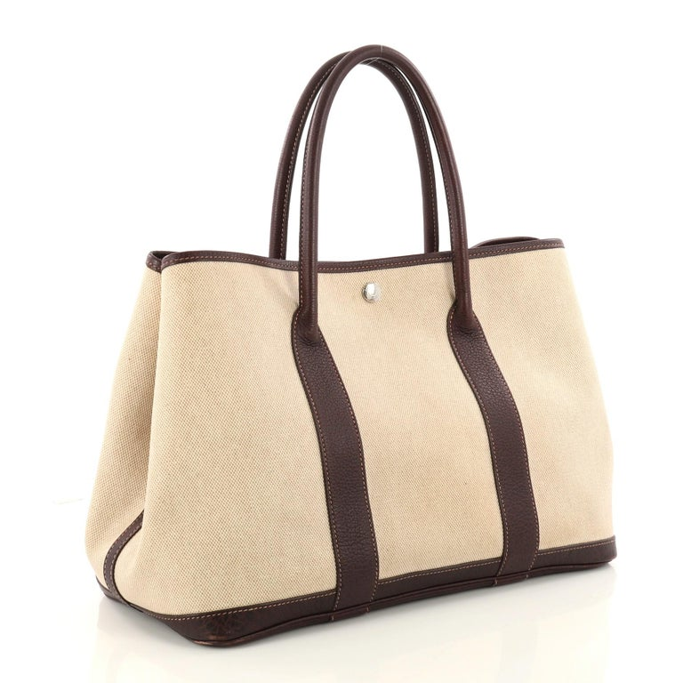 5bf71ffa5ba0 Beige Hermes Garden Party Tote Toile and Leather 36 For Sale