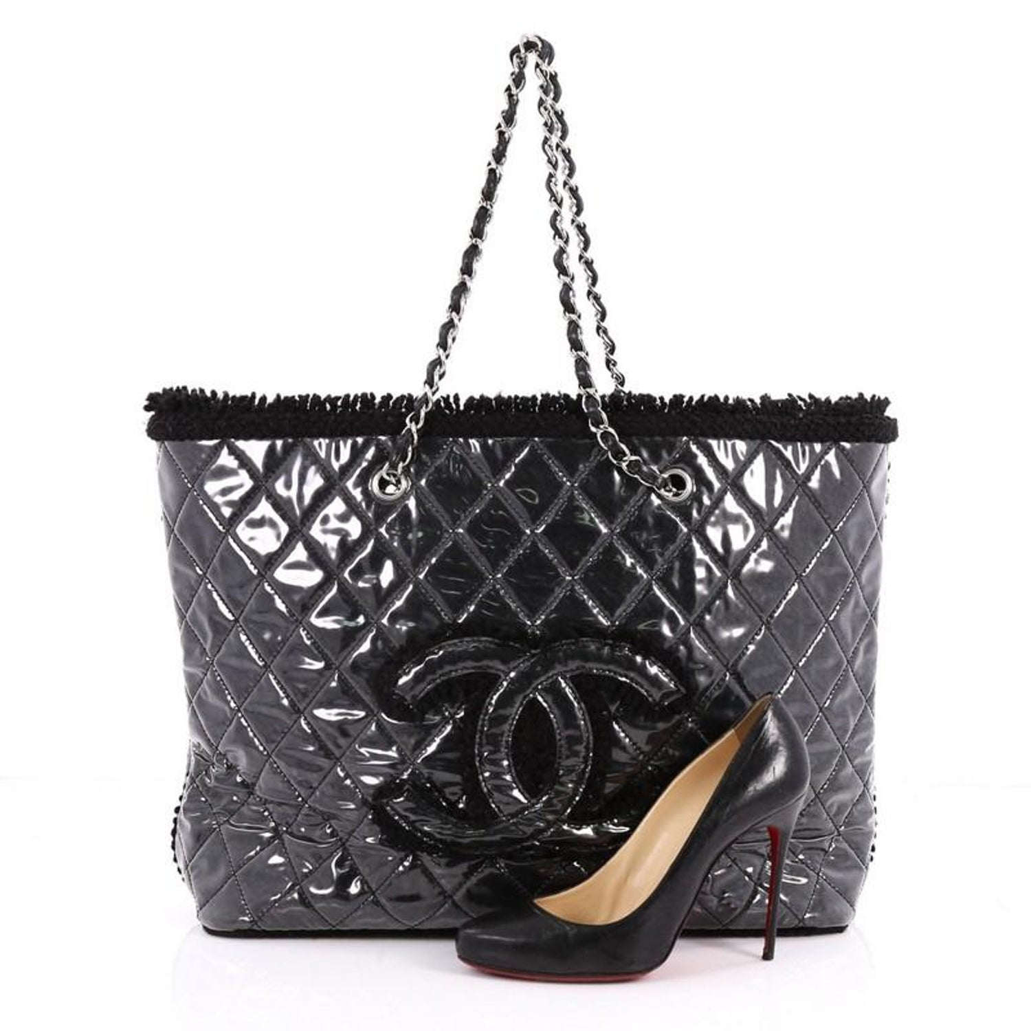 9400feb8d8b2 Chanel Funny Tweed Tote Quilted Vinyl Large at 1stdibs