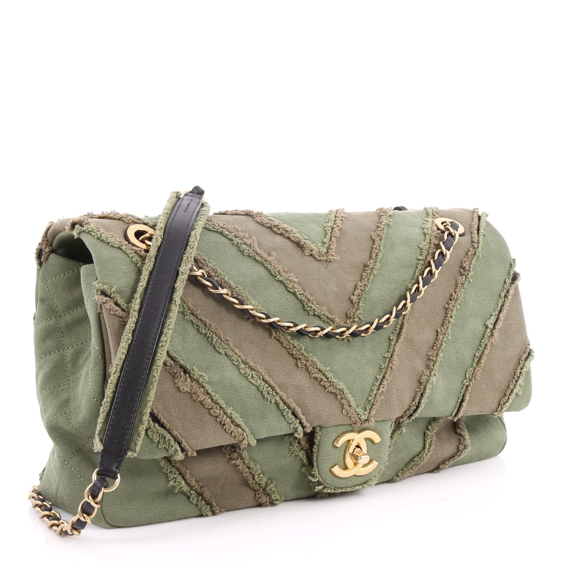 7efd8fec4e89 Chanel CC Flap Bag Chevron Canvas Patchwork Maxi at 1stdibs