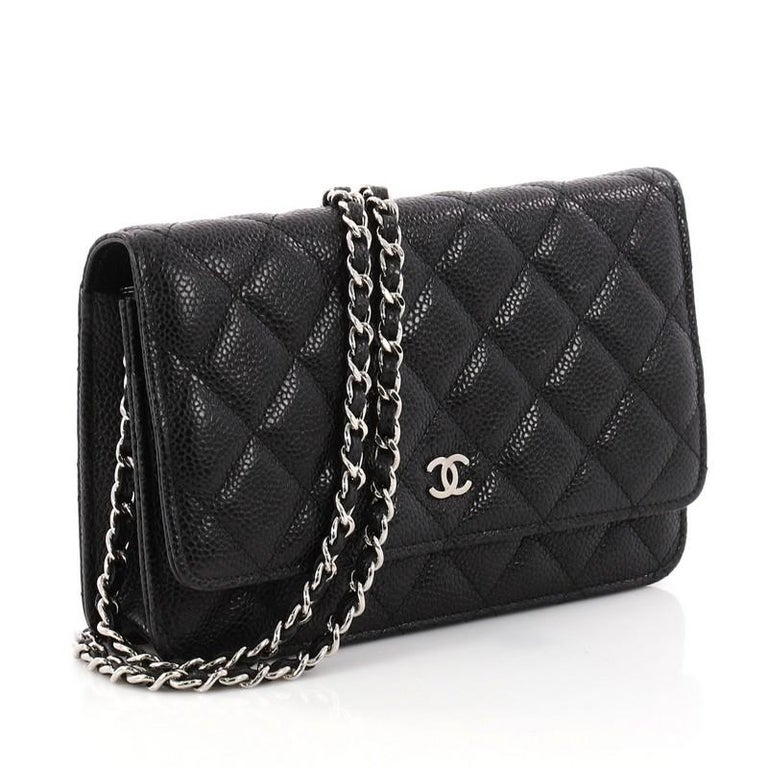Black Chanel Wallet On Chain Quilted Caviar For