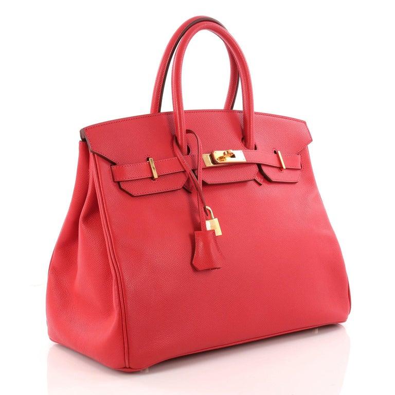 Red Hermes Birkin Handbag Rouge Vif Epsom with Gold Hardware 35 For Sale