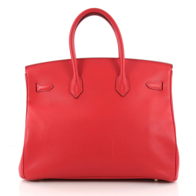 Hermes Birkin Handbag Rouge Vif Epsom with Gold Hardware 35 In Good Condition For Sale In New York, NY