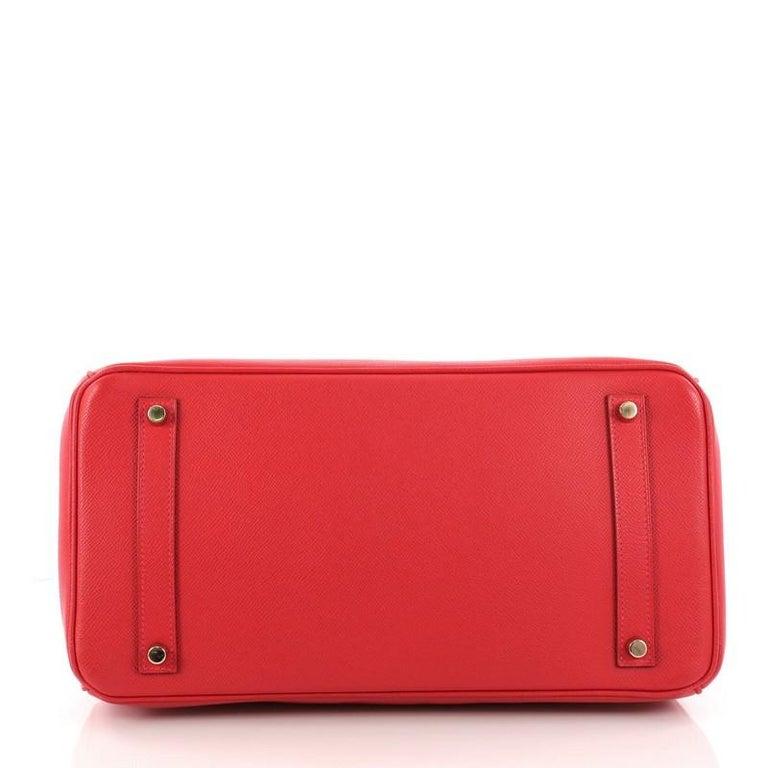 Women's or Men's Hermes Birkin Handbag Rouge Vif Epsom with Gold Hardware 35 For Sale