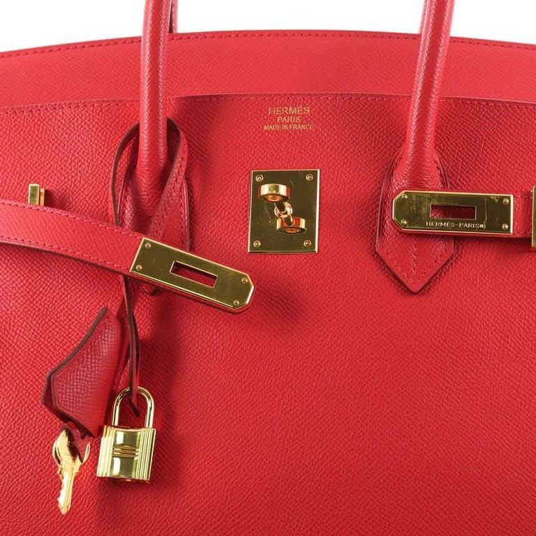 Hermes Birkin Handbag Rouge Vif Epsom with Gold Hardware 35 For Sale 1