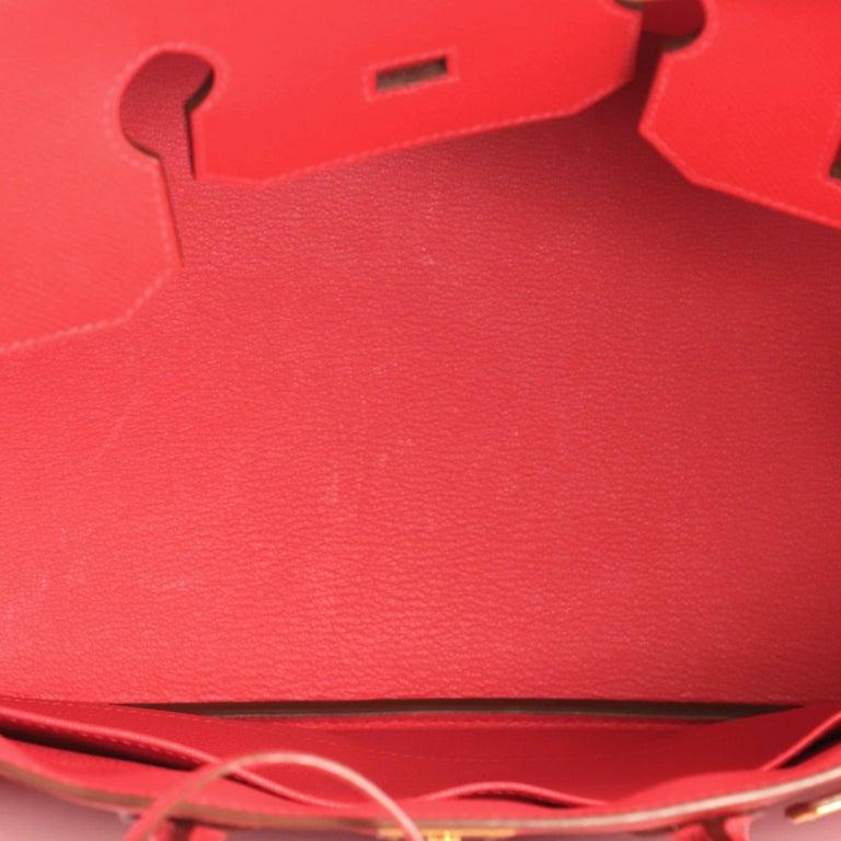 Hermes Birkin Handbag Rouge Vif Epsom with Gold Hardware 35 For Sale 2