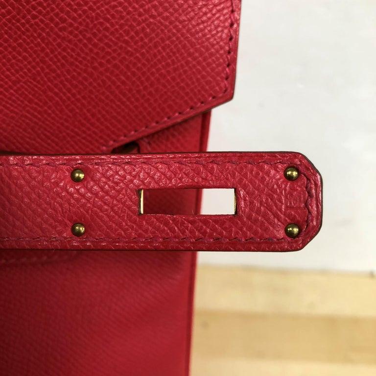 Hermes Birkin Handbag Rouge Vif Epsom with Gold Hardware 35 For Sale 4