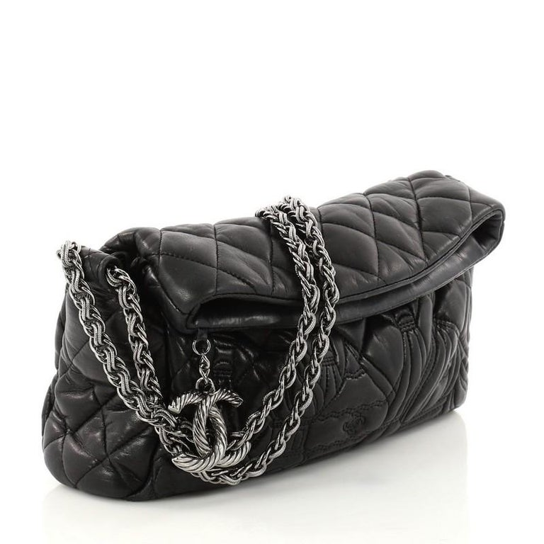 bf8eb49b7e1b Black Chanel Paris-Moscow Square Flap Bag Embossed Quilted Lambskin Small  For Sale
