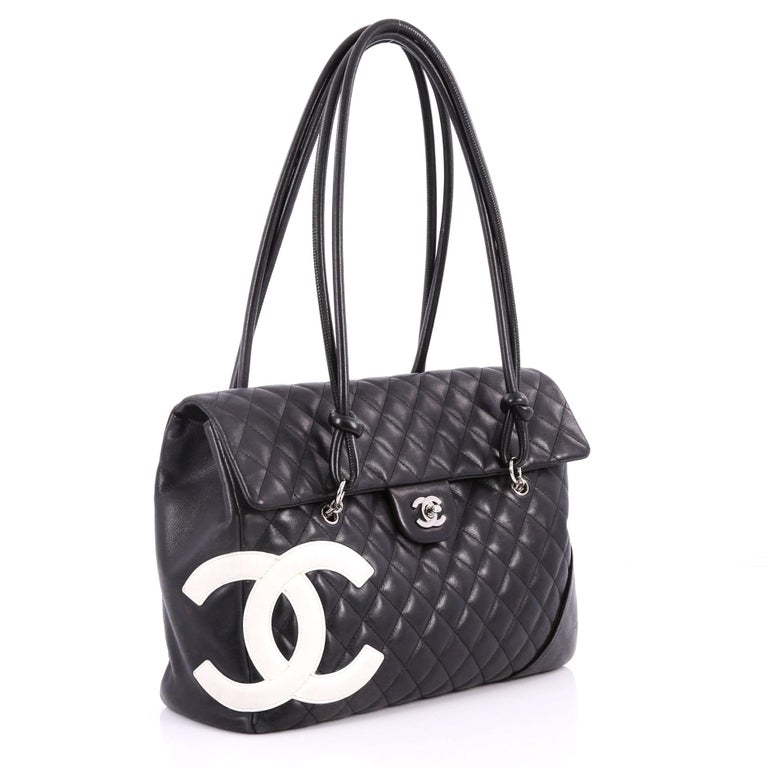 f0f4002cc6a8 Black Chanel Cambon Flap Tote Quilted Leather Large For Sale
