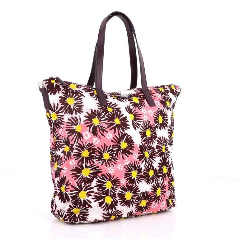 Black Prada Convertible Tote Printed Tessuto With Saffiano Large For Sale