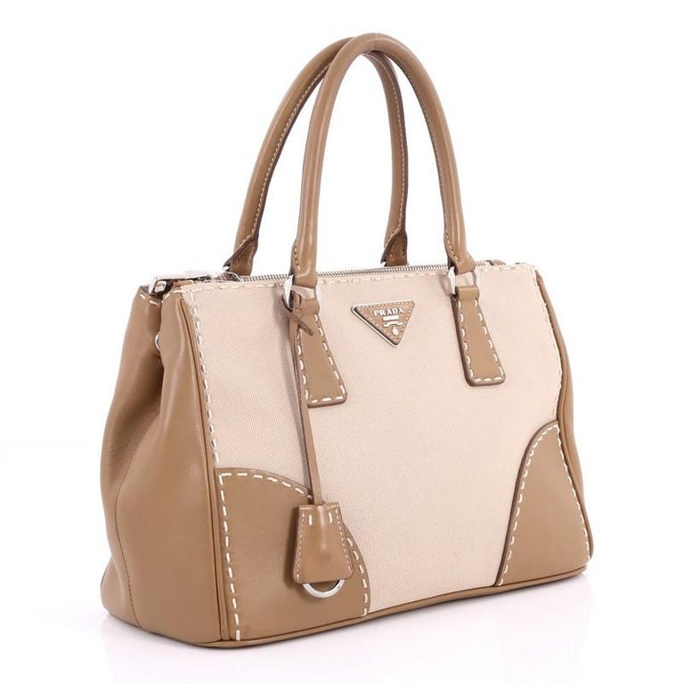 3026996a3e60fc Beige Prada Double Zip Convertible Tote Stitched City Calfskin and Canvas  Small For Sale