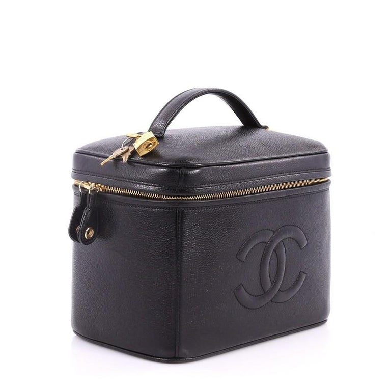 88f6222554f8 Black Chanel Vintage Timeless Vanity Case Caviar Small For Sale