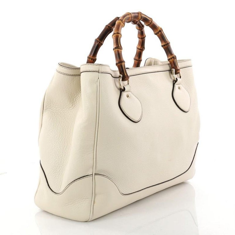 d408a63e6492 Beige Gucci Diana Bamboo Top Handle Tote Leather Medium For Sale