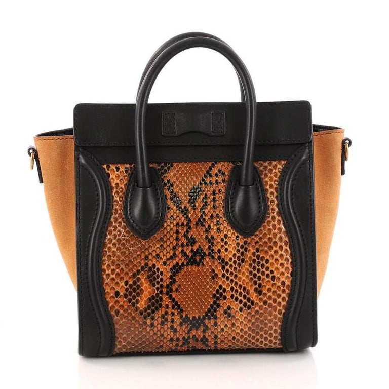 Celine Luggage Handbag Python And Leather Nano In Good Condition For New York
