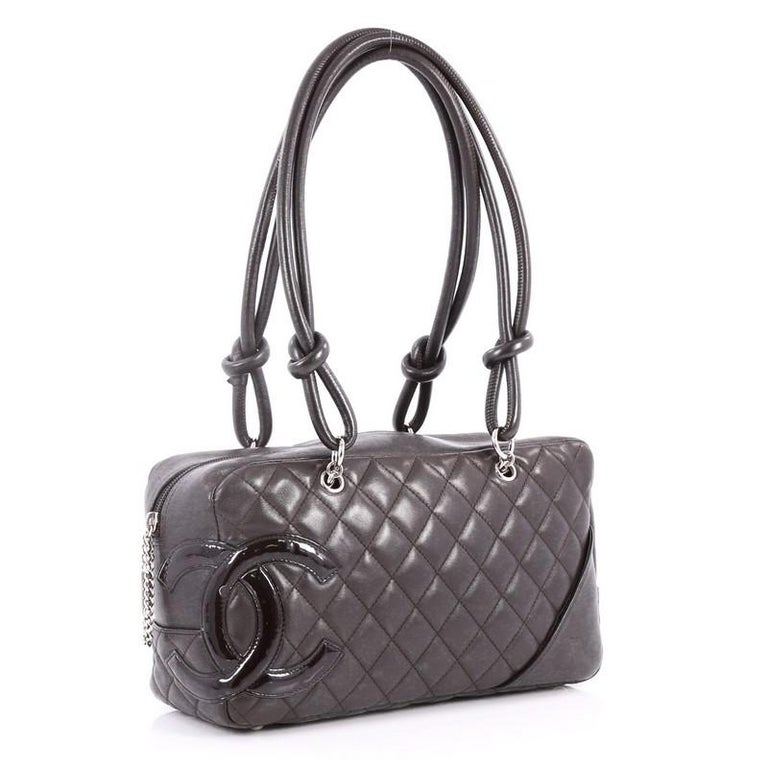7dd014f859 Black Chanel Cambon Bowler Bag Quilted Leather Medium For Sale