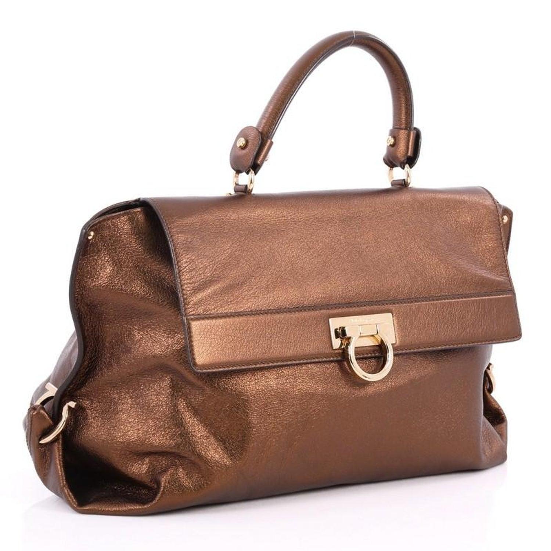 Salvatore Ferragamo Sofia Satchel Pebbled Leather Large For Sale at 1stdibs 6e1338496fe2f