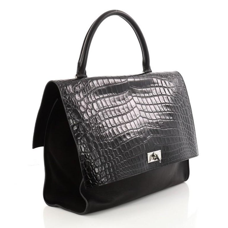 1b64ad657d65 Black Givenchy Shark Convertible Satchel Crocodile Embossed Leather Medium  For Sale