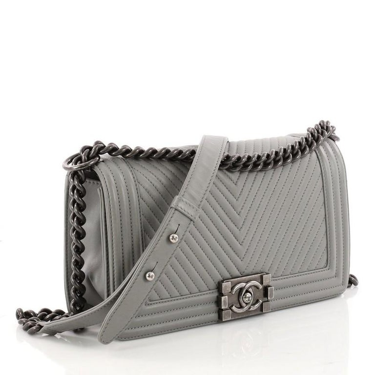 354a06b51bcf Gray Chanel Boy Flap Bag Chevron Calfskin Old Medium For Sale