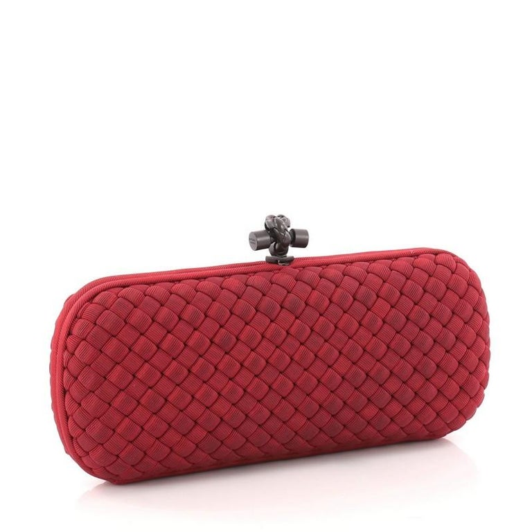 Red  Bottega Veneta Box Knot Clutch Intrecciato Silk Faille Long For Sale