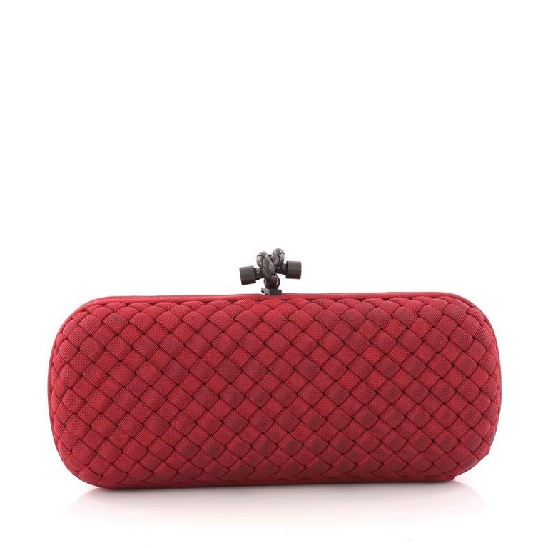 Bottega Veneta Box Knot Clutch Intrecciato Silk Faille Long In Good Condition For Sale In New York, NY